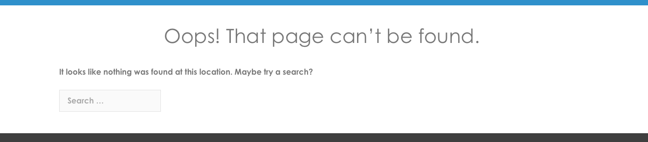 Screenshot of 404 page on website
